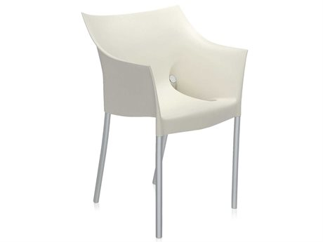 Kartell Outdoor Dr No Opaque Wax White Aluminum Resin Dining Chair (Sold in 2)