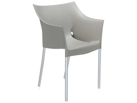 Kartell Outdoor Dr No Opaque Warm Grey Aluminum Resin Dining Chair (Sold in 2)