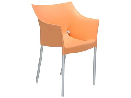 Kartell Outdoor Dr No Opaque Light Orange Aluminum Resin Dining Chair (Sold in 2)