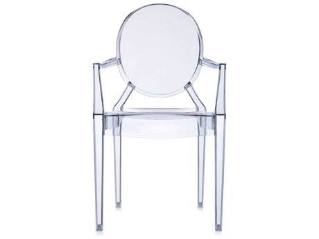 Kartell Outdoor Louis Ghost Transparent Ice Blue Resin Dining Chair (Sold in 2)