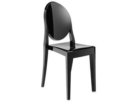 Kartell Outdoor Victoria Ghost Glossy Black Resin Dining Chair (Sold in 2)