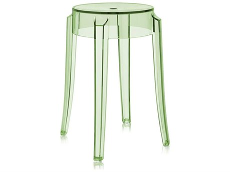 Kartell Outdoor Charles Ghost Transparent Green Resin Dining Chair (Sold in 2)