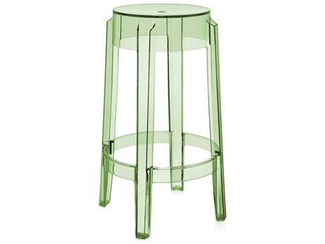 Kartell Outdoor Charles Ghost Transparent Green Resin Counter Stool (Sold in 2)