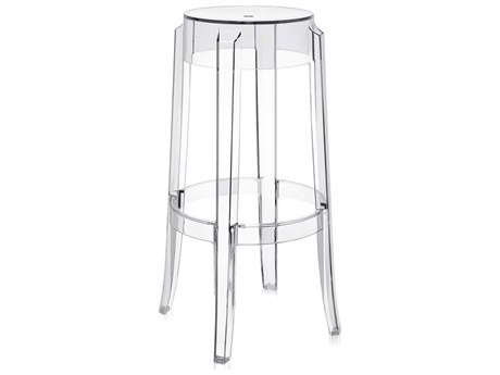 Kartell Outdoor Charles Ghost Transparent Crystal Resin Bar Stool (Sold in 2)