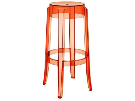 Kartell Outdoor Charles Ghost Transparent Orange Resin Bar Stool (Sold in 2)