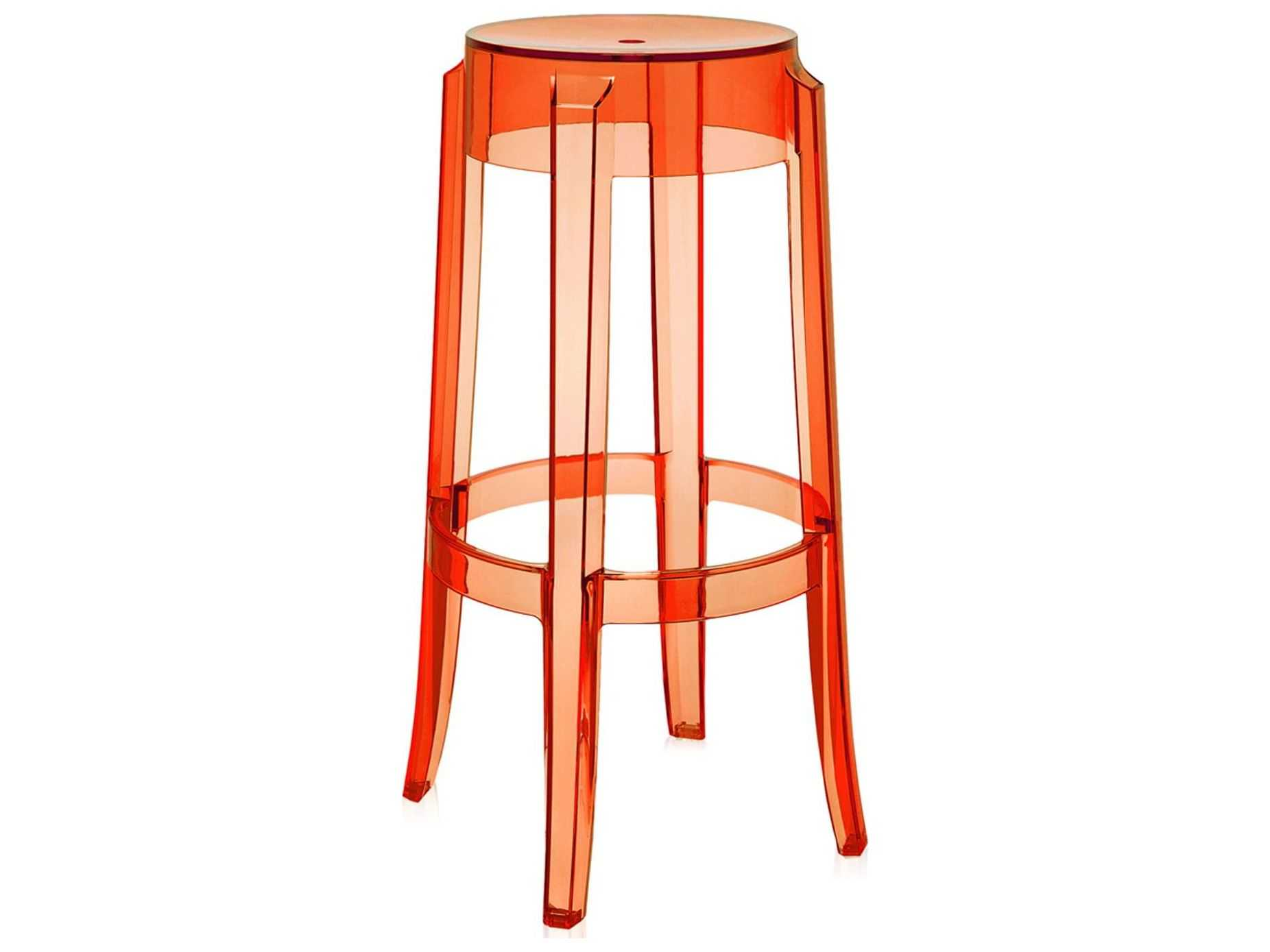 Miraculous Kartell Outdoor Charles Ghost Transparent Orange Resin Bar Stool Sold In 2 Bralicious Painted Fabric Chair Ideas Braliciousco