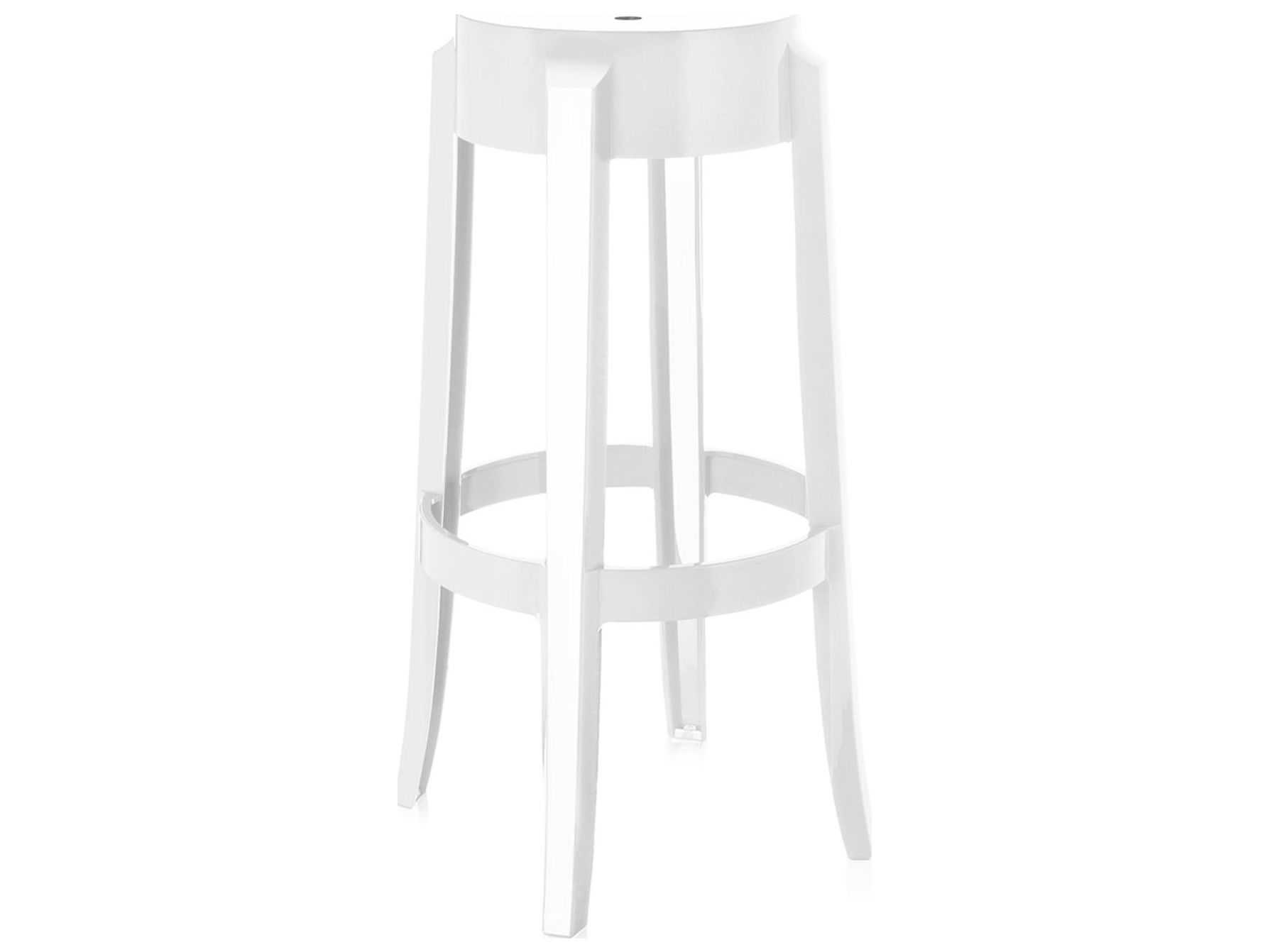 online store 4ead1 d0b32 Kartell Outdoor Charles Ghost Glossy White Resin Bar Stool (Sold in 2)
