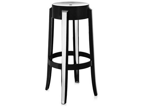 Kartell Outdoor Charles Ghost Glossy Black Resin Bar Stool (Sold in 2)