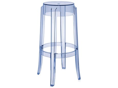 Kartell Outdoor Charles Ghost Transparent Light Blue Resin Bar Stool (Sold in 2)