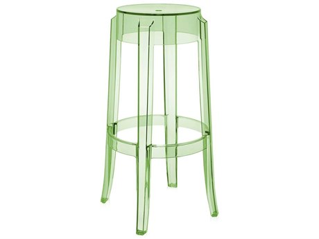 Kartell Outdoor Charles Ghost Transparent Green Resin Bar Stool (Sold in 2)