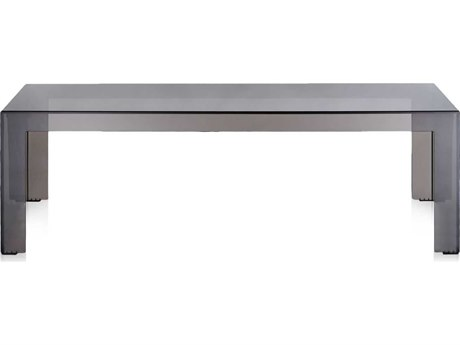 Kartell Outdoor Invisible Transparent Light Smoke 47'' Wide Resin Rectangular Coffee Table