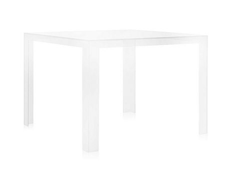 Kartell Outdoor Invisible Transparent Crystal 39'' Wide Resin Square Dining Table