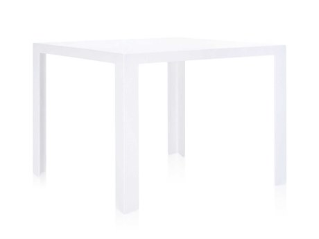 Kartell Outdoor Invisible Glossy White 39'' Wide Resin Square Dining Table