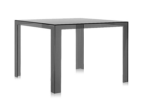 Kartell Outdoor Invisible Transparent Smoke 39'' Wide Resin Square Dining Table