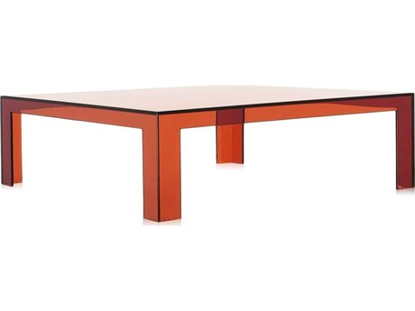 Kartell Outdoor Invisible Transparent Amber 39'' Wide Resin Rectangular Coffee Table