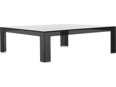 Kartell Outdoor Invisible Transparent Smoke 39'' Wide Resin Square Coffee Table