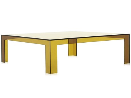 Kartell Outdoor Invisible Transparent Seaweed Green 39'' Wide Resin Square Coffee Table