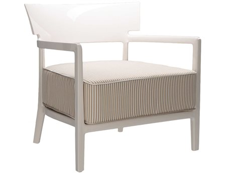Kartell Outdoor Cara Ivory / Beige Resin Cushion Lounge Chair
