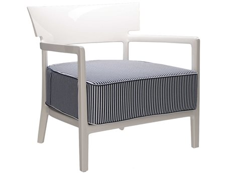 Kartell Outdoor Cara Ivory / Blue Resin Cushion Lounge Chair