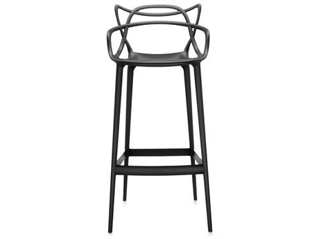 Kartell Outdoor Masters Opaque Black Resin Bar Stool