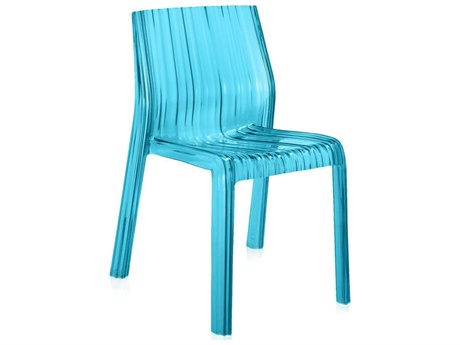 Kartell Outdoor Frilly Transparent Turquoise Resin Dining Chair (Sold in 2)
