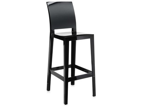 Kartell Outdoor One More Opaque Black Resin Bar Stool (Sold in 2)