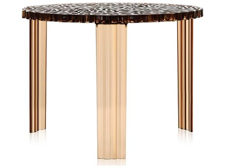Kartell Outdoor T-table Transparent Amber Resin Round Coffee Table