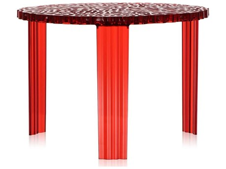 Kartell Outdoor T-table Transparent Red Resin Round Coffee Table