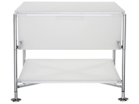Kartell Mobil 19'' Wide Rectangular One Drawer Chrome Nightstand without Wheels