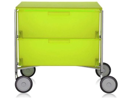 Kartell Mobil Citron Yellow 19'' Wide Rectangular Two Drawers Nightstand with Wheels