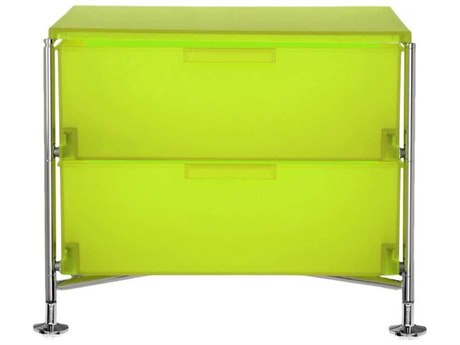 Kartell Mobil Citron Yellow 19'' Wide Rectangular Two Drawers Nightstand without Wheels