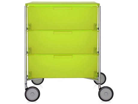 Kartell Mobil Citron Yellow 19'' Wide Rectangular Three Drawers Nightstand with Wheels
