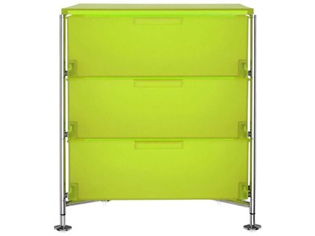 Kartell Mobil Citron Yellow 19'' Wide Rectangular Three Drawers Nightstand without Wheels