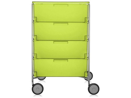 Kartell Mobil Citron Yellow 19'' Wide Rectangular Four Drawers Chest of Drawers with Wheels