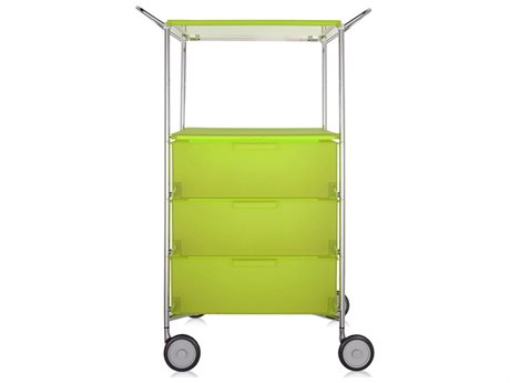 Kartell Mobil Citron Yellow Three-Drawer File Cabinet with Wheels