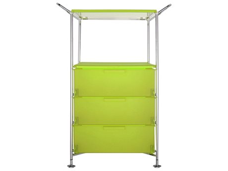 Kartell Mobil Citron Yellow Three-Drawer File Cabinet without Wheels