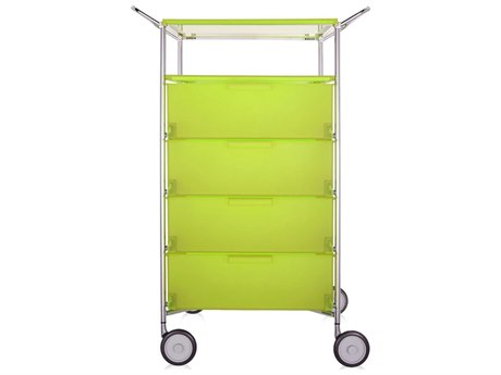 Kartell Mobil Citron Yellow Four-Drawer File Cabinet with Wheels