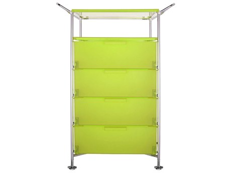 Kartell Mobil Citron Yellow Four-Drawer File Cabinet without Wheels