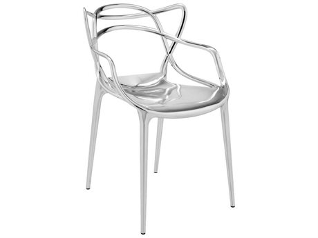 Kartell Masters Metallic Chrome Dining Arm Chair (Sold in 2)