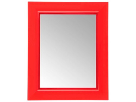 Kartell Francois Ghost Transparent Red 26''W x 31''H Rectangular Wall Mirror