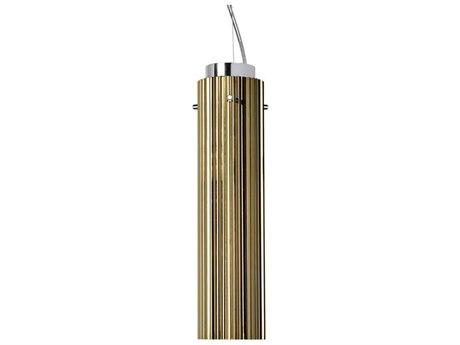 Kartell Rifly Metallic Gold 12'' High LED Mini Pendant Light