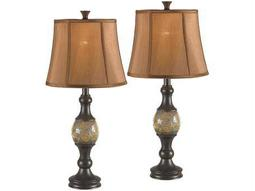 Kenroy Home Shay Bronze with Amber Crackled Glass Table Lamp (Pack of 2)