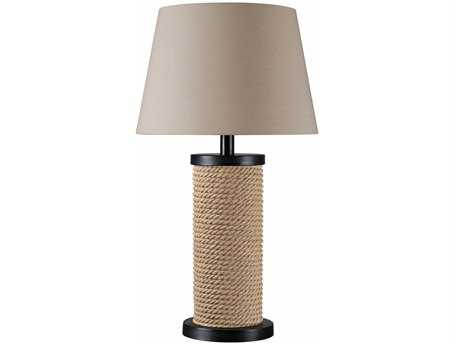 Kenroy Home Landfall Oil Rubbed Bronze with Rope Accents Three-Light Solar Outdoor Table Lamp