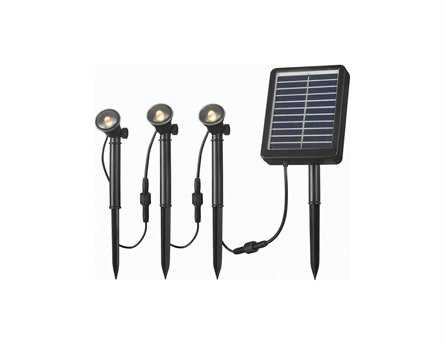Kenroy Home Seriously Solar Black Three-Light Spot Light String