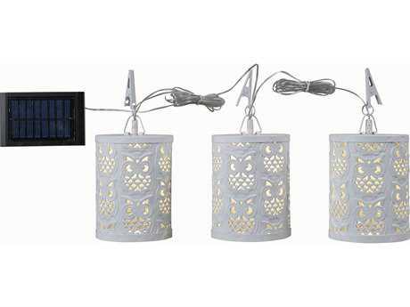 Kenroy Home Megellan White Three-Light Solar Umbrella Set