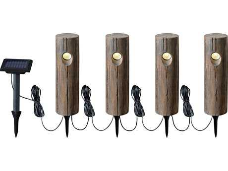 Kenroy Home Cole Wood Grain Solar String Path (4 Pack)