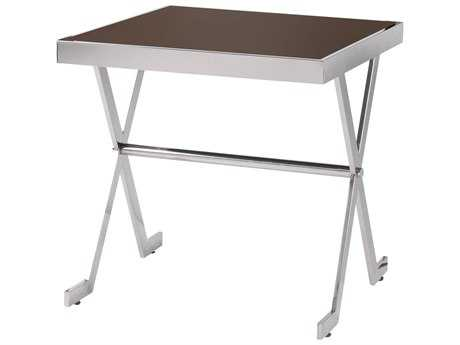 Kenroy Home Campaign Stainless Steel & Espresso Tempered Glass 19'' x 18'' Rectangular Accent Table