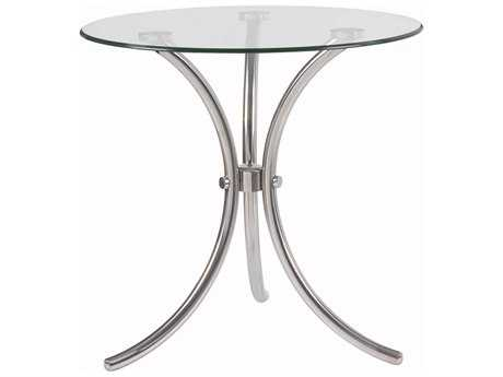 Kenroy Home Trio 20'' Round Stainless Steel & Glass Accent Table