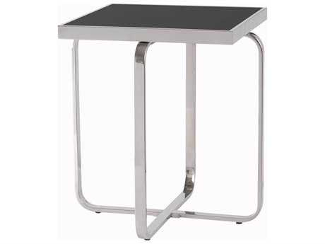 Kenroy Home Decor Stainless Steel & Black Glass Panel 18'' Square Accent Table