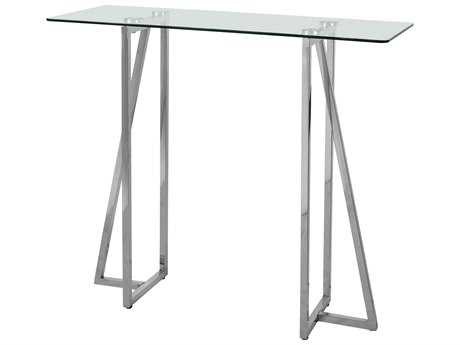 Kenroy Home Calder 36''L x 13''W Rectangular Polished Stainless Steel Console Table